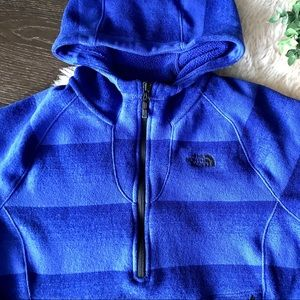 The North Face blue 1/3 zip hooded Pullover